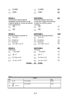 Gr10 Mathematics class test