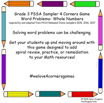 Grade 3 PSSA Sampler Whole Numbers Word Problems 4 Corners Game