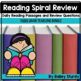 3rd Grade Reading Spiral Review BUNDLE with Passages and C
