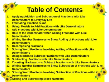 Gr4 Math Common Core Unit 4A Add/Subtract Fractions Notebook & Lesson Powerpoint