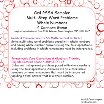Grade 4 PSSA Sampler Multi-Step Word Problems Whole Numbers 4 Corners Game