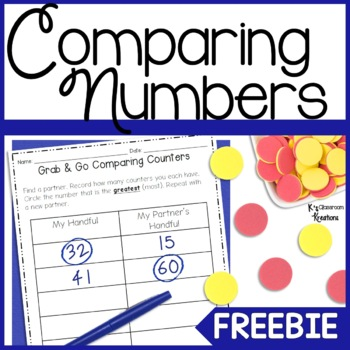 Comparing Numbers Math Game Freebie