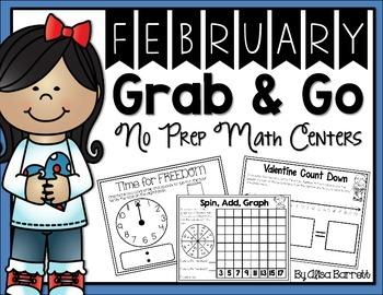 Grab & Go NO PREP February Math Centers
