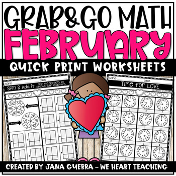 Grab & Go Math: February (2ND GRADE)