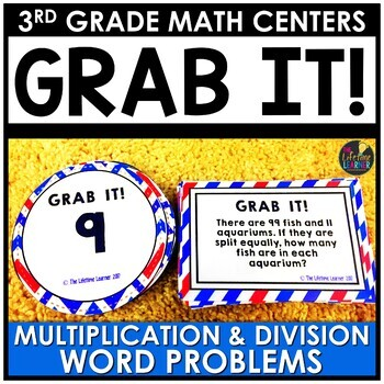 Grab It Multiplication and Division Word Problems July Math Center