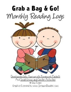 Grab a Bag and Go Homework Packets Monthly Reading Logs