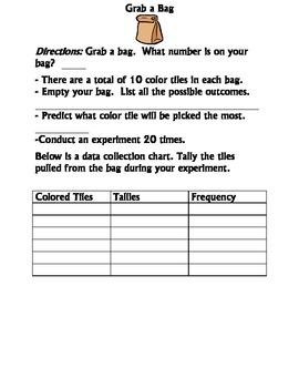 Grab a bag Probability activity