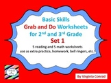 Basic Skills Grab and Do Worksheets for 2nd and 3rd Grades--Set 1