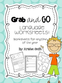 Grab and Go- Language Worksheets for anytime of the year