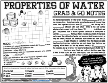 Grab-and-Go Notes: Properties of Water