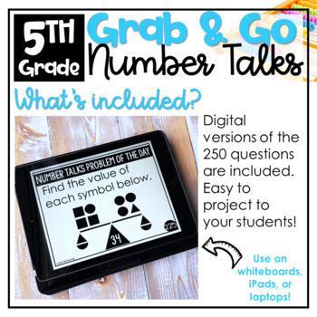Grab and Go Number Talks Bundle 4th - 5th Grade BUILD NUMBER SENSE AND FLUENCY
