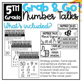 Number Talks Math Bundle YEAR LONG 4th - 5th Grade NUMBER SENSE AND MATH FLUENCY