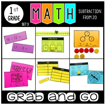 Grab and Go Subtraction from 20