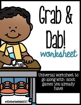 Grab n' Dab Universal Worksheet