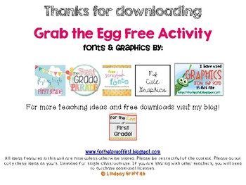 Grab the Egg Addition and Subtraction Freebie