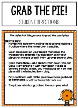 Grab the Pie! (A strategy game for equivalent Fractions)