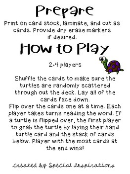 Snatch the Turtle! (a -CLE Reading Game) Orton-Gillingham Inspired