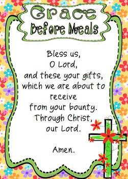 Grace Before Meals ~ Prayer Posters, Worksheets and Interactive Activities
