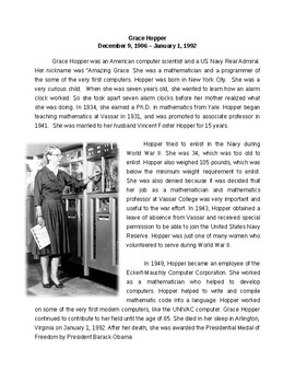 Grace Hopper and Computers Reading and Writing