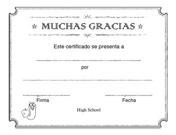 Gracias Certificate