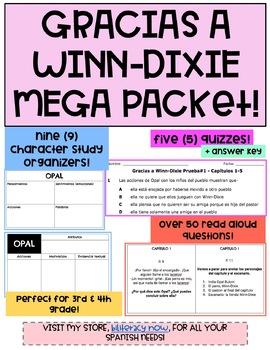 Gracias a Winn-Dixie 50+ Read Aloud Questions 9 Character Analysis, + 5 Quizzes!