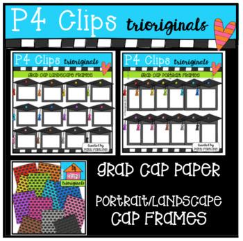 Grad Cap BUNDLE (P4 Clips Trioriginals Clip Art)