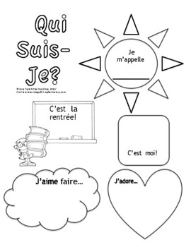 Grade 1&2 Core French Back to School Qui Suis Je Poster