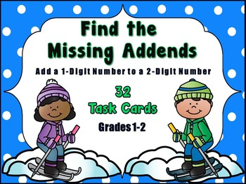 Adding 1-Digit Numbers to 2-Digit Numbers, Winter Themed Task Cards