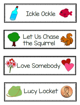 Grade 1 - 2 Printable Song Title Cards, over 25 Kodaly Folk Songs and Games