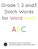 Grade 1, 2, and 3 Dolch Words for Word Wall