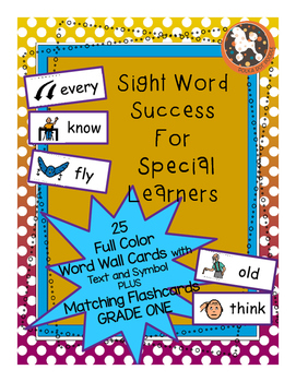 Grade One Dolch Word Wall Cards and Flashcards with Text and Boardmaker Symbols
