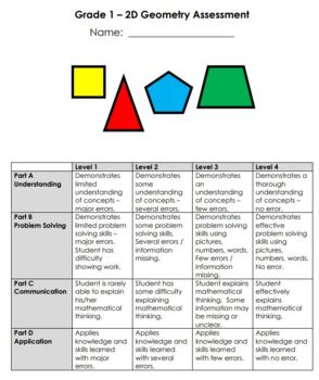 Grade 1 2D Geometry Assessment