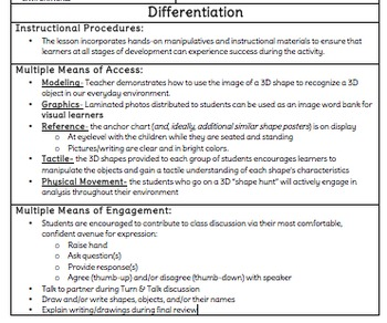 Grade 1 3D Shapes Lesson Plan and Materials