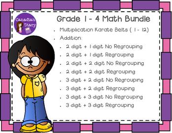 Grade 1 - 4 Addition and Multiplication Karate Belts