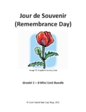 Grade 1-8 Core French Remembrance Day Lessons and Activities