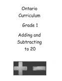 Grade 1 Adding and Subtracting Numbers to 20 Test (Ontario)