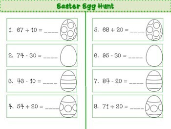 Grade 1 - Addition and Subtraction with Multiples of Ten - Easter Egg Hunt