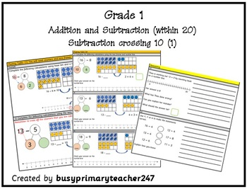 Grade 1 - Addition and Subtraction within 20: Subtraction crossing 10 (part 1)