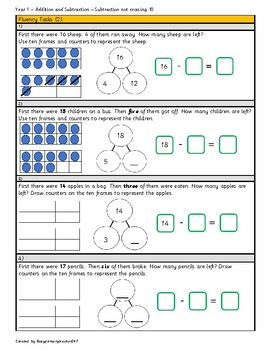Grade 1 - Addition and Subtraction within 20: Subtraction not crossing 10