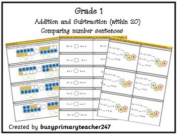 Grade 1 - Addition and Subtraction within 20: compare number sentences