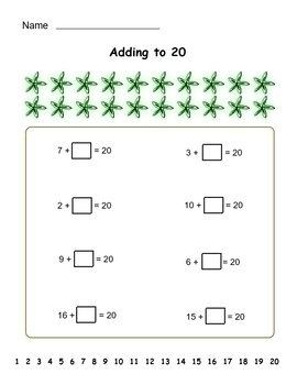 Grade 1 Addition to 20 - worksheet set 11 pages - CCSS - b/w