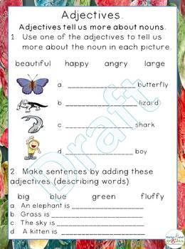 Grade 1 - Adjective Worksheets - Common Core - Worksheets and Activities.