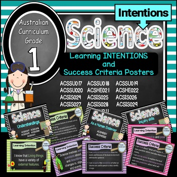 Grade 1 All SCIENCE Learning INTENTIONS/success criteria posters Aust Curric.