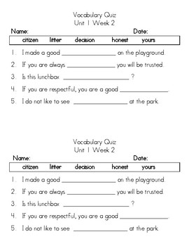 Grade 1 Benchmark Advance Vocabulary Tests