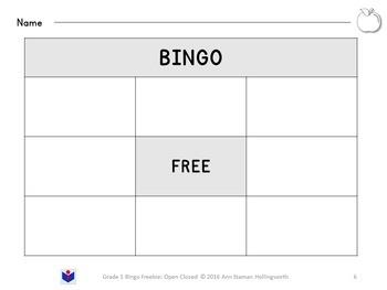 Grade 1 Bingo FREEBIE: Open and Closed Syllables