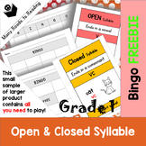 Open and Closed Syllables Bingo FREEBIE Grade 1