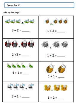 Grade 1 Bug Math Worksheet Package