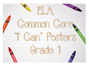"""Grade 1 CCSS Reading Posters """"I Can"""" Statements"""
