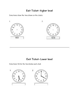 Grade 1 CCSS Telling Time Lesson Plan
