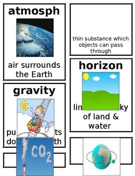 Grade 1 CKLA Domain 6: Astronomy Core Vocabulary Cards